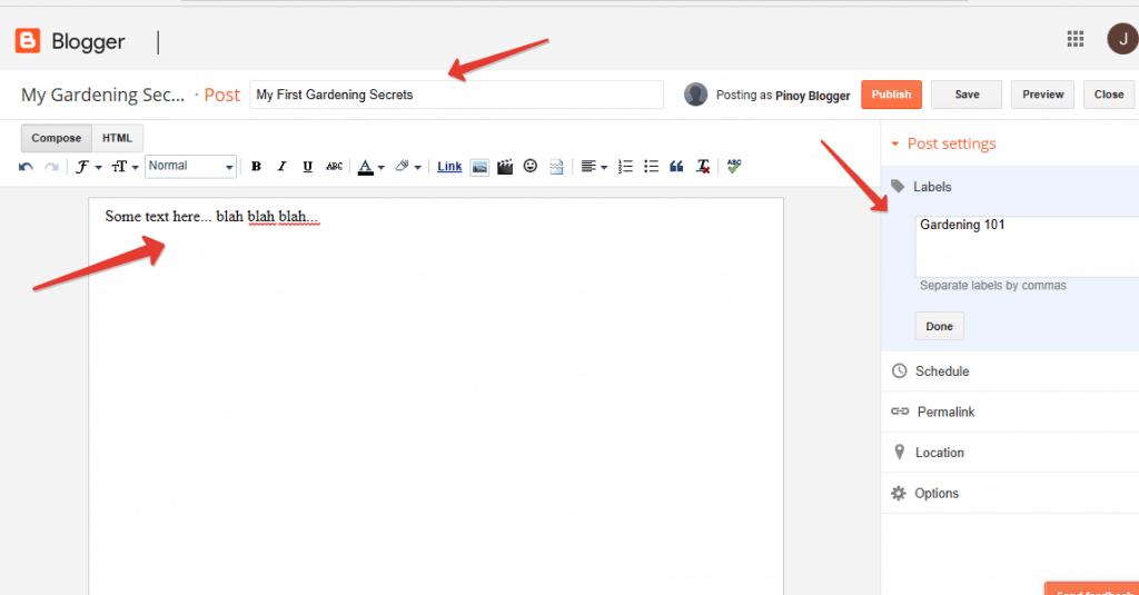 Blogger blog editor
