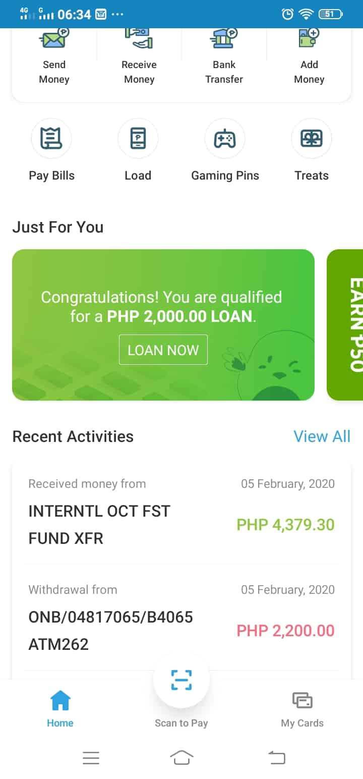 A screenshot from the PayMaya app. Qualified users will see a banner of the PayMaya loans or CashniJuan Payday Loan offer.