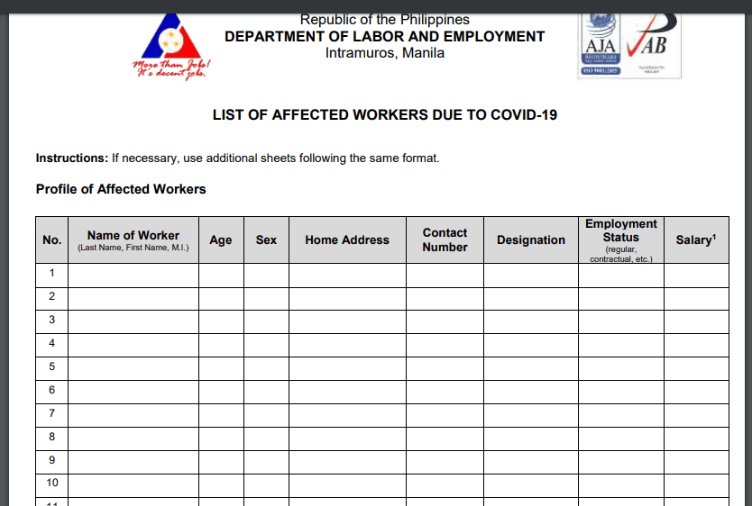 List of affected workers due to COVID-19 - DOLE Salary subsidy worth of 5000 Pesos