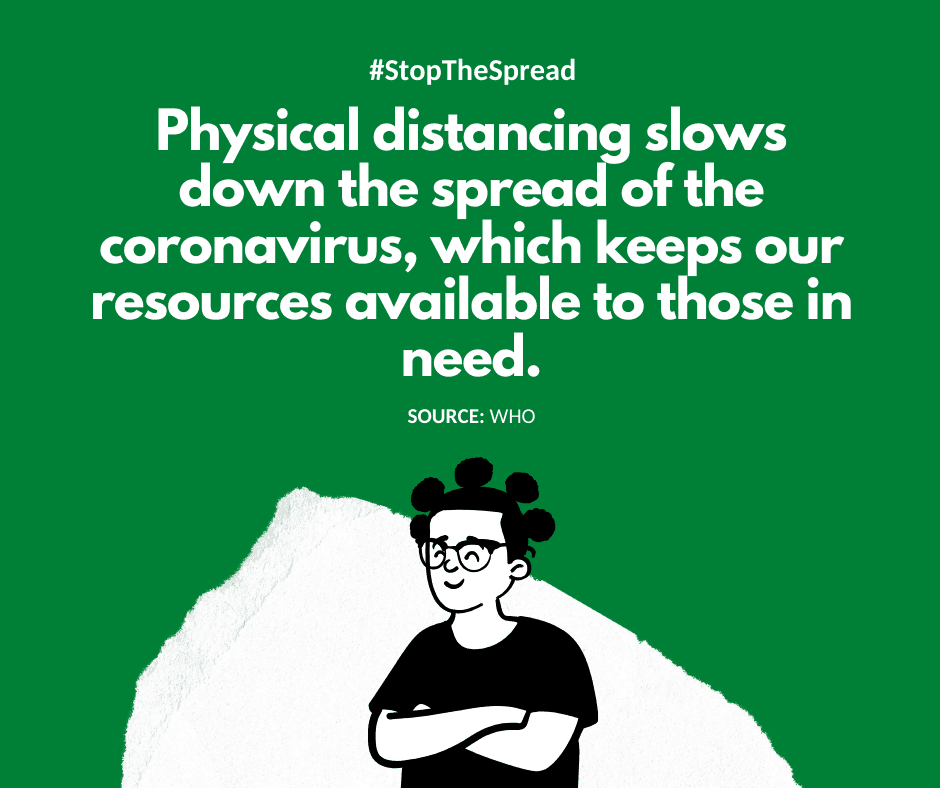 Physical distancing slows down the spread of the coronavirus, which keeps our resources available to those in need. - WHO
