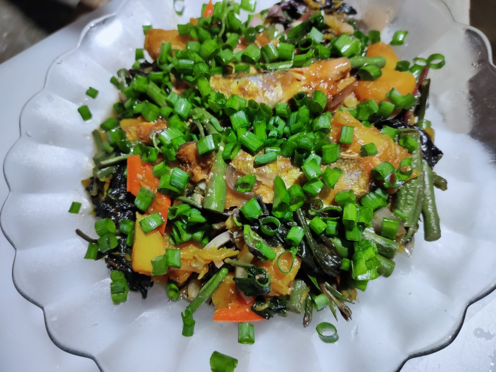 Talbos ng Kamote Salad with Spring Onion Leaves Toppings